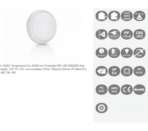 APLIQUE DE LED EXT. REDONDO 4W