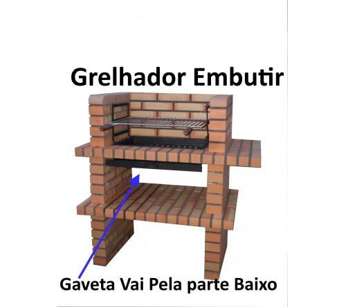 GRELHADOR INOX P/EMBUTIR EM CHURRASQUEIRA 59x39